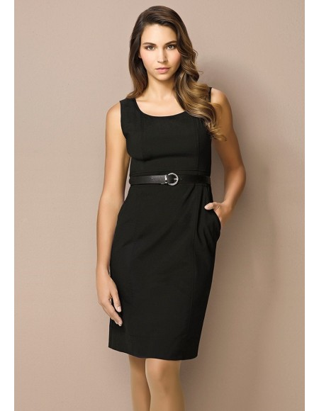 Ladies Sleeveless Side Zip Dress in Comfort Wool Stretch