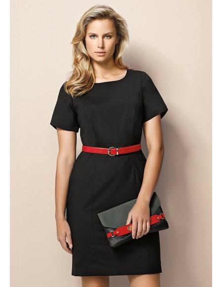 Ladies Short Sleeve Shift Dress in Comfort Wool Stretch