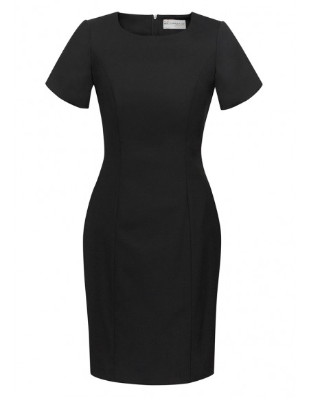 Ladies Short Sleeve Shift Dress in Comfort Wool Stretch