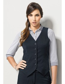 Ladies Peaked Vest with Knitted Back in Plain Suiting
