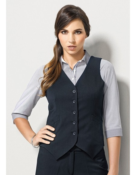 Ladies Peaked Vest with Knitted Back in Plain Suiting - CLEARANCE