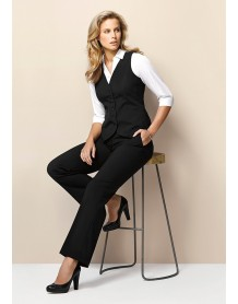Ladies Peaked Vest with Knitted Back in Wool Suiting