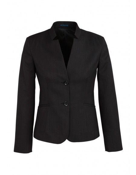Ladies Short Jacket with Reverse Lapel in Plain Suiting