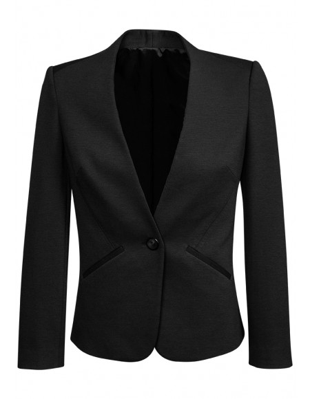 Ladies Single Button Collarless Jacket in Knit Suiting