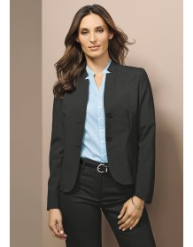 Short Jacket with Reverse Lapel in Wool Suiting