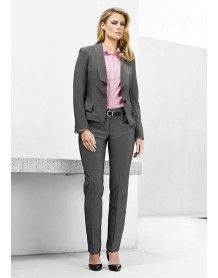 Ladies Contour Band Pant - Textured Stretch Suiting