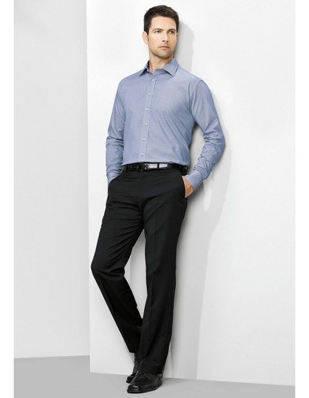 Mens Flat Front Pant Regular in Cool Stretch Plain