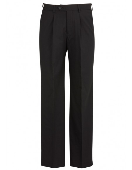 Mens One Pleat Pant Stout in Comfort Wool Stretch