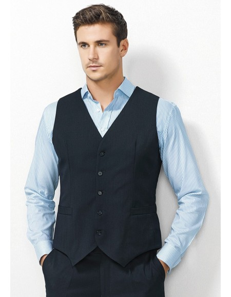 Mens Peaked Vest with Knitted Back in Plain Suiting