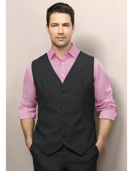 Mens Peaked Vest with Knitted Back in Wool Suiting