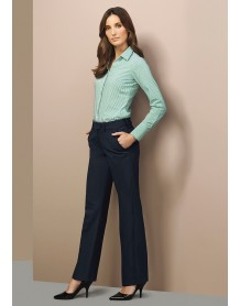 Ladies Mid Rise Adjustable Waist Pant - Wool Suiting