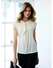 Mia Ladies Pleat Knit Top ivory
