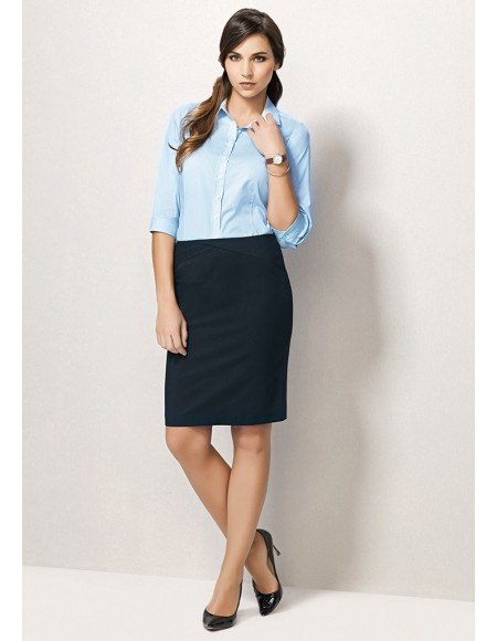Ladies Chevron Band Skirt - Plain Suiting