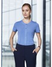 ADVATEX COOL Leah Diamond Button Knit Top Short Sleeve delta blue