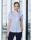 ADVATEX COOL Sandy Linear Pleat Knit Top Short Sleeve delta blue