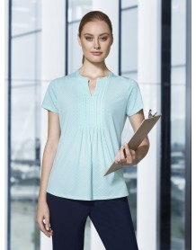 ADVATEX COOL ELLA DIAMOND PLEAT KNIT TOP SHORT SLEEVE