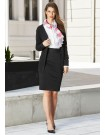Ladies Panelled Skirt with Rear Split - Knit Suiting