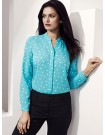 Juliette Spot Print Long Sleeve Blouse - aqua