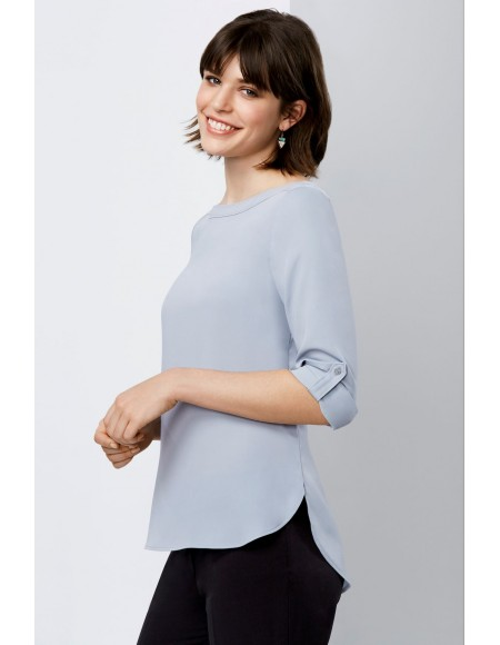 Madison Boat-Neck Blouse silver mist