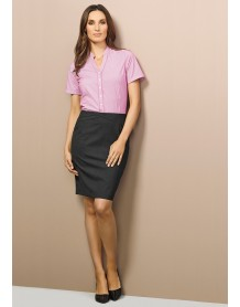 Ladies Chevron Band Skirt - Wool Suiting