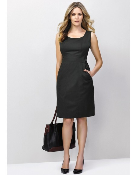 Ladies Sleeveless Side Zip Dress in Cool Stretch Plain