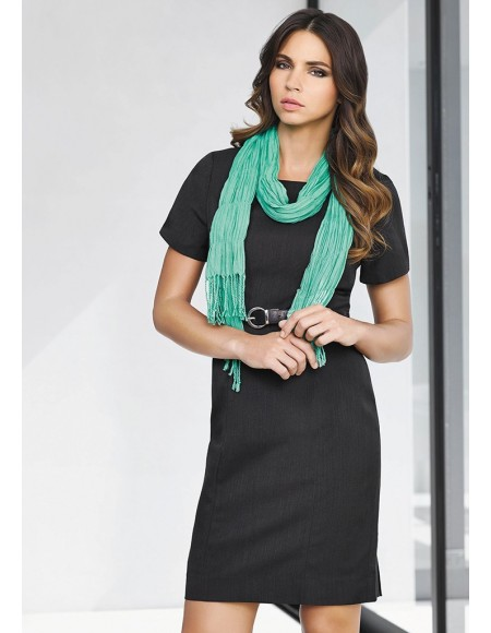Ladies Short Sleeve Shift Dress in Cool Stretch Plain